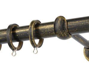 Κουρτινόβεργα Zogometal Rustique Collection R0427 Μαύρο Πατίνα Χρυσό