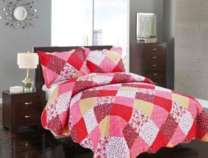 Σετ Κουβερλί Υπέρδιπλο Silk Fashion Κόκκινο Καρώ PinksonicB 220×240