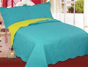 Σετ Κουβερλί Υπέρδιπλο Silk Fashion Λαχούρι Blue & Green 220×240