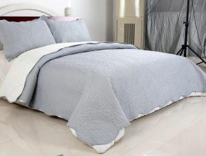Σετ Κουβερλί Υπέρδιπλο Silk Fashion Λαχούρι Grey & Cream 220×240