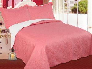 Σετ Κουβερλί Υπέρδιπλο Silk Fashion Λαχούρι Peach & Cream 220×240