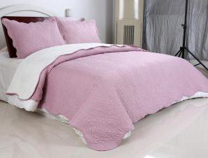 Σετ Κουβερλί Υπέρδιπλο Silk Fashion Λαχούρι Pink & Cream 220×240