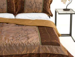 Σετ Κουβερλί Υπέρδιπλο Silk Fashion 10507 Καφέ 220×240