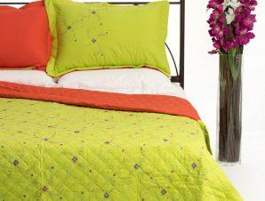 Σετ Κουβερλί Υπέρδιπλο Silk Fashion 24 Λαχανί 220×240