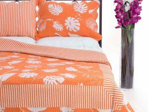 Σετ Κουβερλί Υπέρδιπλο Silk Fashion 350 Πορτοκαλί 220×240