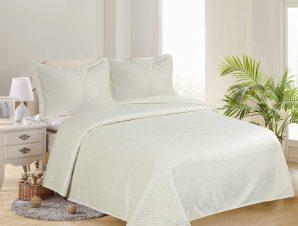 Σετ Κουβερλί Υπέρδιπλο Silk Fashion Supersoft Νταμακι Cream 220×240