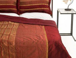 Σετ Κουβερλί Υπέρδιπλο Silk Fashion Taj Mahal Μπορντώ 220×240