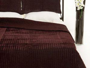 Σετ Κουβερλί Υπέρδιπλο Silk Fashion Velvet Μελιτζανί 220×240