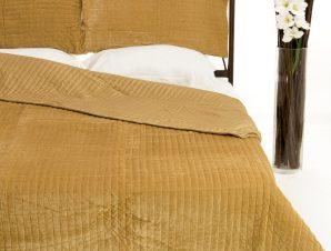 Σετ Κουβερλί Υπέρδιπλο Silk Fashion Velvet Χρυσό 220×240