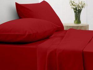 Σετ Σεντόνια Υπέρδιπλα με Λάστιχο Sunshine Home Cotton Feelings 113 Red 170×205+30