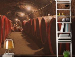 Βαρέλια κρασιού σε παραδοσιακό κελάρι Φαγητό Ταπετσαρίες Τοίχου 80 x 120 cm