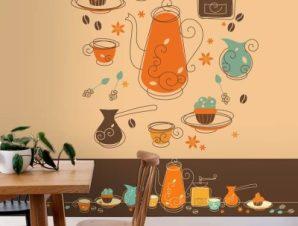 Αντικείμενα καφέ ρετρό Φαγητό Ταπετσαρίες Τοίχου 103 x 80 cm