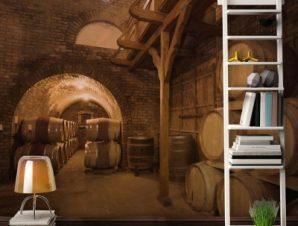 Κελάρι με βαρέλια κρασιού Φαγητό Ταπετσαρίες Τοίχου 85 x 115 cm