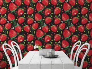 Φράουλες σε μαύρο φόντο Φαγητό Ταπετσαρίες Τοίχου 100 x 100 cm