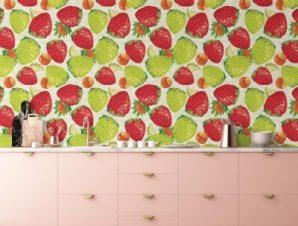 Φράουλες σε άσπρο φόντο Φαγητό Ταπετσαρίες Τοίχου 100 x 100 cm