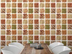 Συλλογή Ξηρών Καρπών Φαγητό Ταπετσαρίες Τοίχου 100 x 100 cm