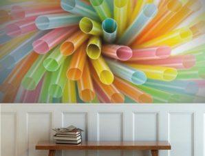 Πολύχρωμα καλαμάκια Φαγητό Ταπετσαρίες Τοίχου 82 x 123 cm