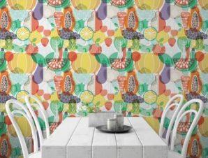 Φρούτα και λαχανικά Φαγητό Ταπετσαρίες Τοίχου 100 x 100 cm